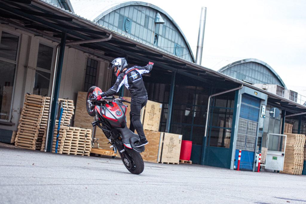 Stunt rider Thibaut Nogues in action on his MV Agusta 800 Brutale. Photo courtesy MV Agusta.