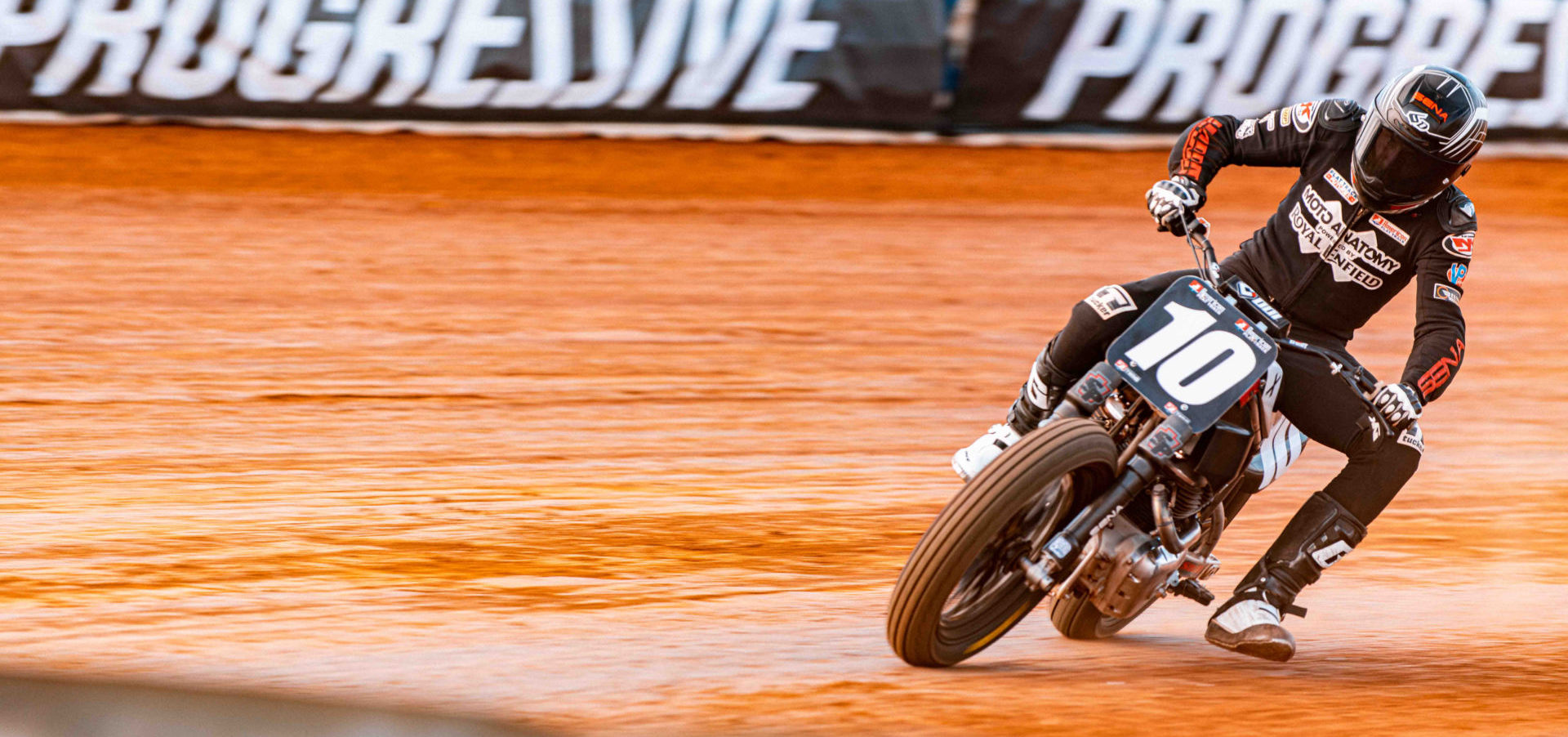 Johnny Lewis (10) on his Royal Enfield flat track racebike. Photo courtesy Royal Enfield.
