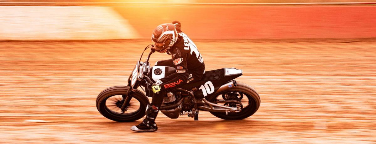 Johnny Lewis (10) on his Royal Enfield at the Williams Grove Half-Mile. Photo courtesy Royal Enfield.