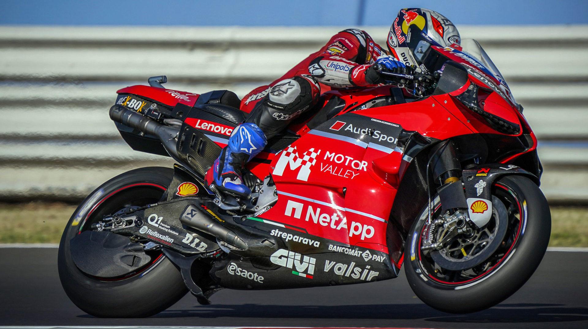 Andrea Dovizioso (04) with the Motor Valley Development Association logo on his Ducati Desmosedici GP20 at Misano. Photo courtesy Ducati.