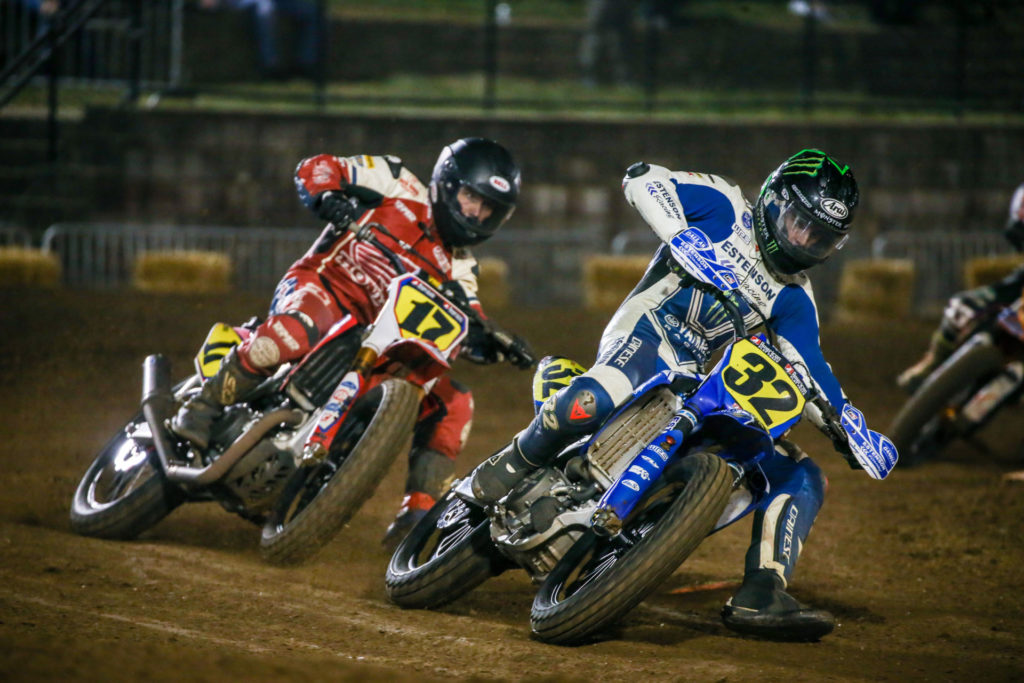 Dallas Daniels (32) and Henry Wiles (17) battle in Springfield Short Track I. Photo courtesy AFT.