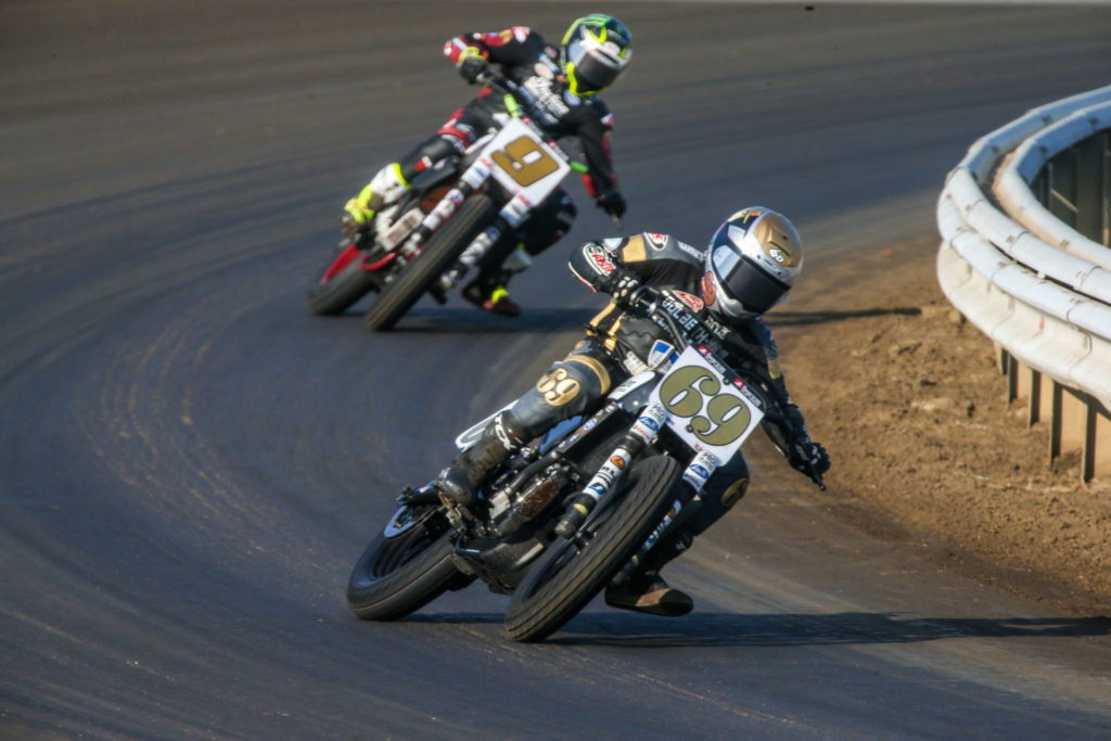 Sammy Halbert (69) leads Jared Mees (9) during the AFT SuperTwins race at Springfield Mile I. Photo by Scott Hunter, courtesy AFT.