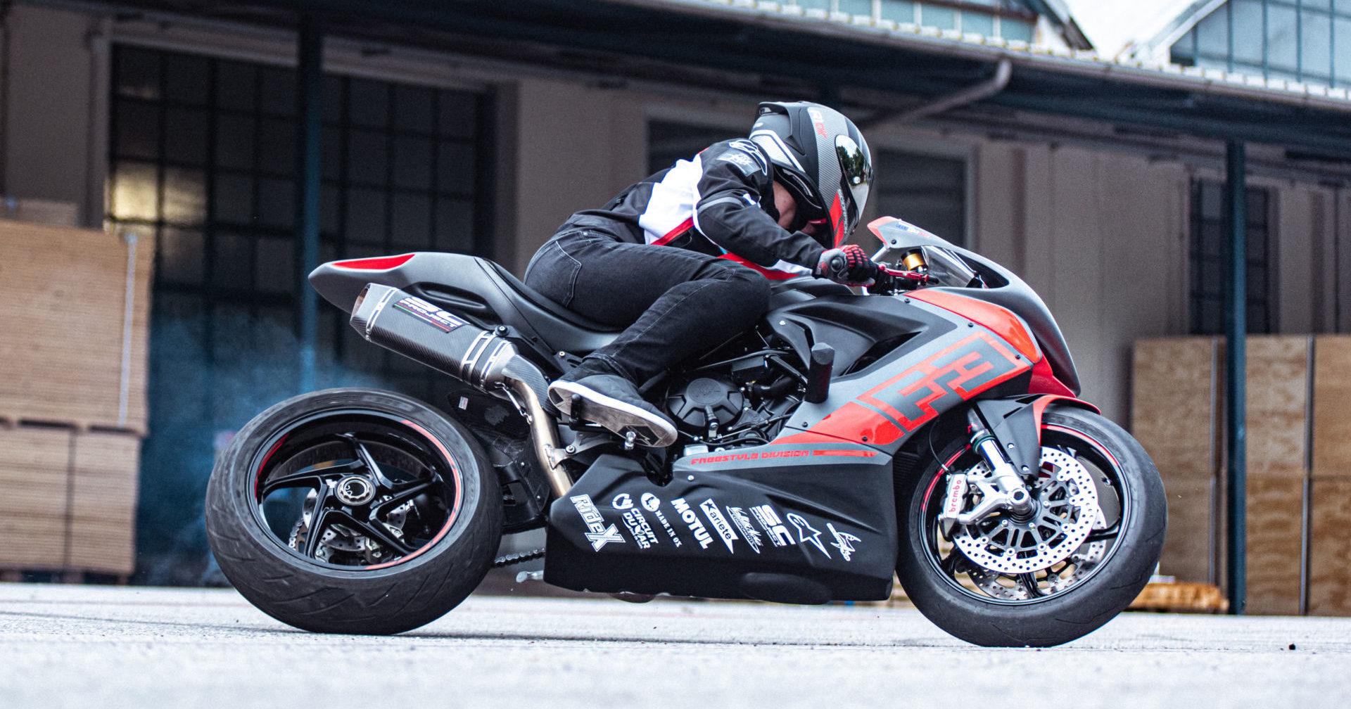 Stunt rider Thibaut Nogues in action on his MV Agusta F3 800. Photo courtesy MV Agusta.