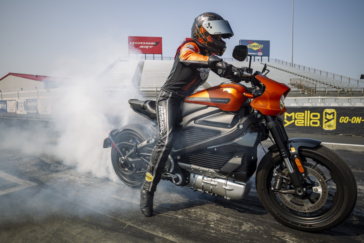 Angelle Sampey doing a burnout on a Harley-Davidson Livewire electric motorcycle during a world record attempt in Indianapolis, Indiana. Photo courtesy Harley-Davidson.