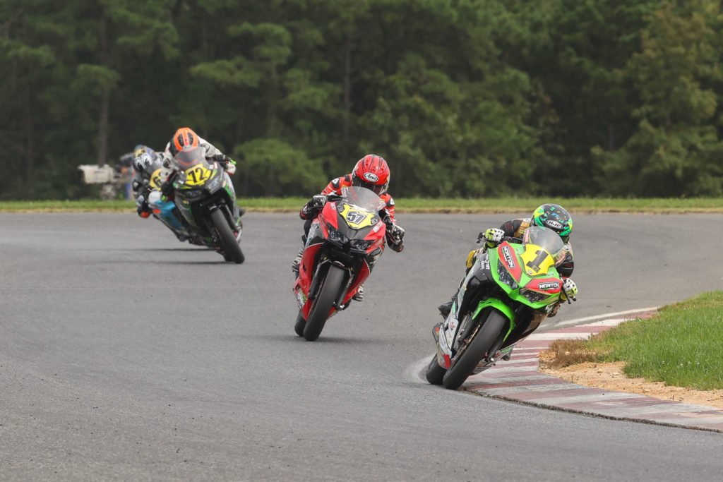 Rocco Landers (1) leads Sam Lochoff (57), Ben Gloddy (72) and the rest of the Junior Cup field early in Race Two. Photo by Brian J. Nelson, courtesy MotoAmerica.