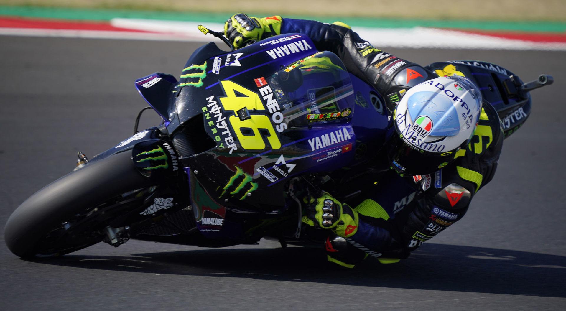 Valentino Rossi (46) at speed at Misano. Photo courtesy Monster Energy Yamaha.