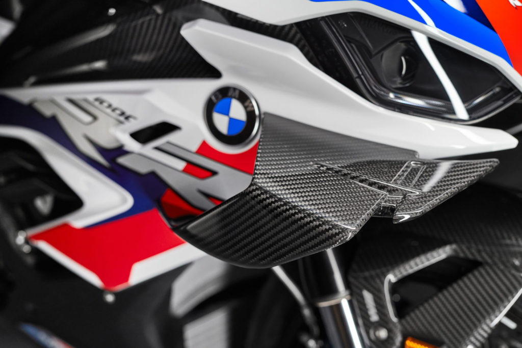 The M 1000 RR comes with aerodynamic winglets. Photo courtesy BMW Motorrad.
