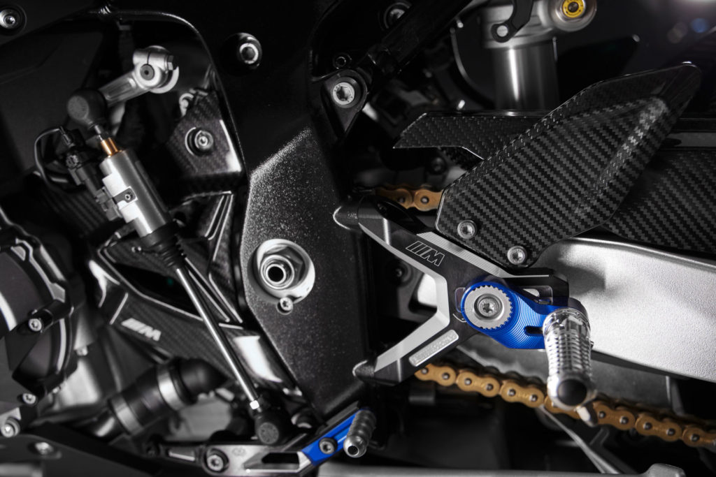 The M 1000 RR comes with an adjustable swingarm pivot. Photo courtesy BMW Motorrad.
