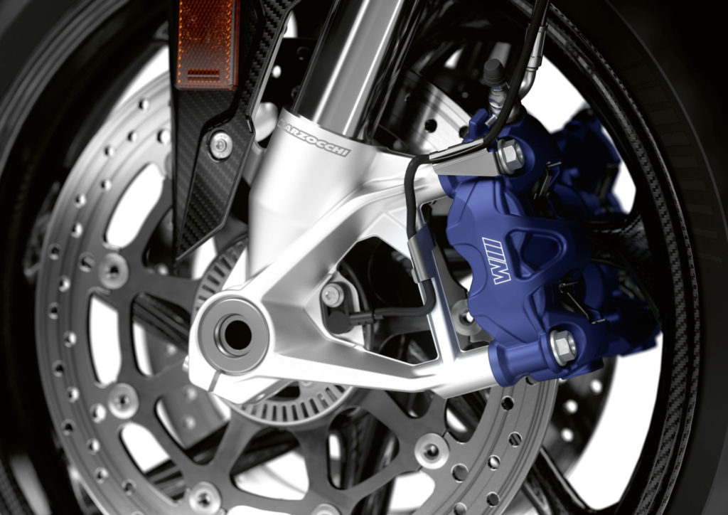 The M 1000 RR comes with M brakes and carbon-fiber wheels. Photo courtesy BMW Motorrad.