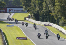 Action from British Superbike Race One at Oulton Park. Photo courtesy MSVR.