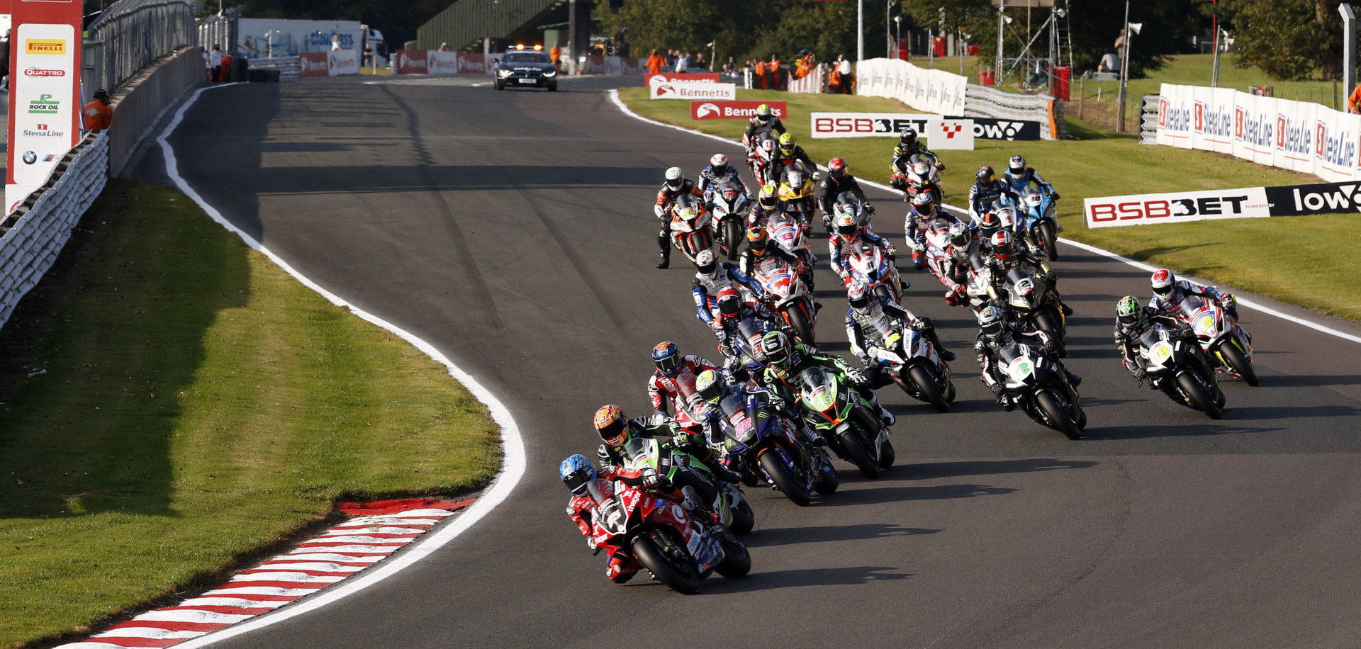 Josh Brookes (25) leads the start of a British Superbike race Sunday at Oulton Park. Photo courtesy MSVR.