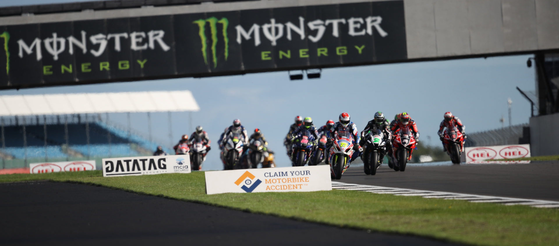 Kyle Ryde (77) leads a British Superbike race Sunday at Silverstone.