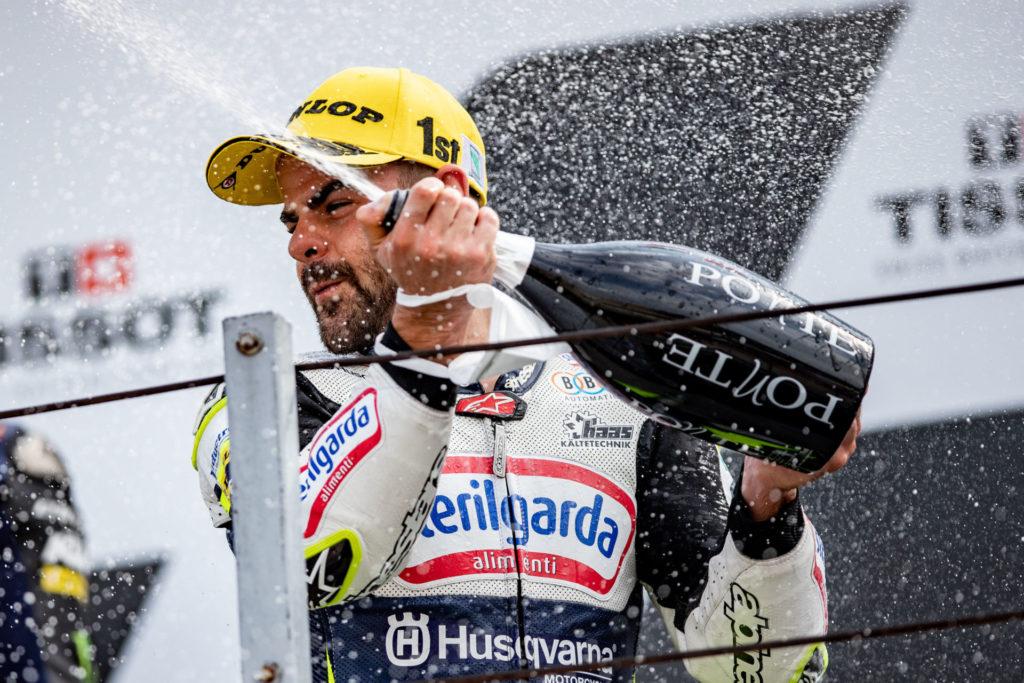 Romano Fenati on top of the Moto3 podium at Misano. Photo courtesy Husqvarna.