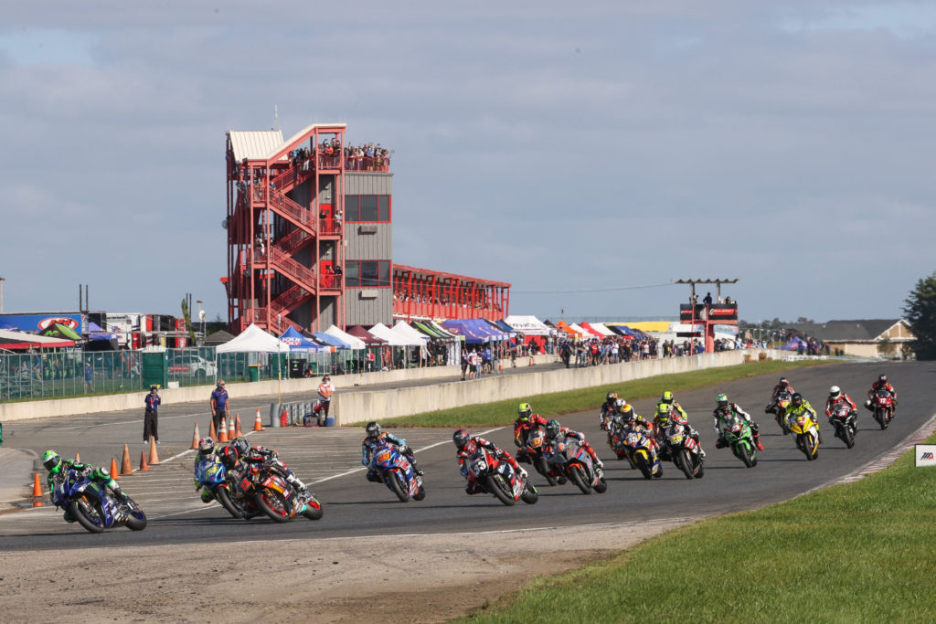 The start of Superbike Race One. Photo by Brian J. Nelson, courtesy MotoAmerica.