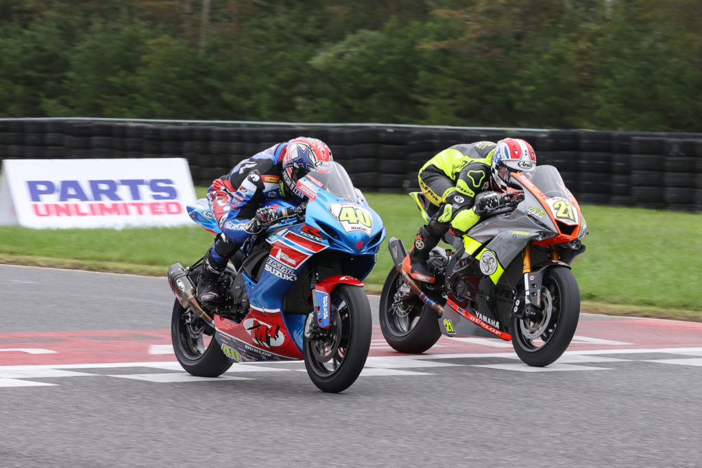 Sean Dylan Kelly (40) held off Brandon Paasch (21) by 0.014 second to win Supersport Race Two. Photo by Brian J. Nelson.