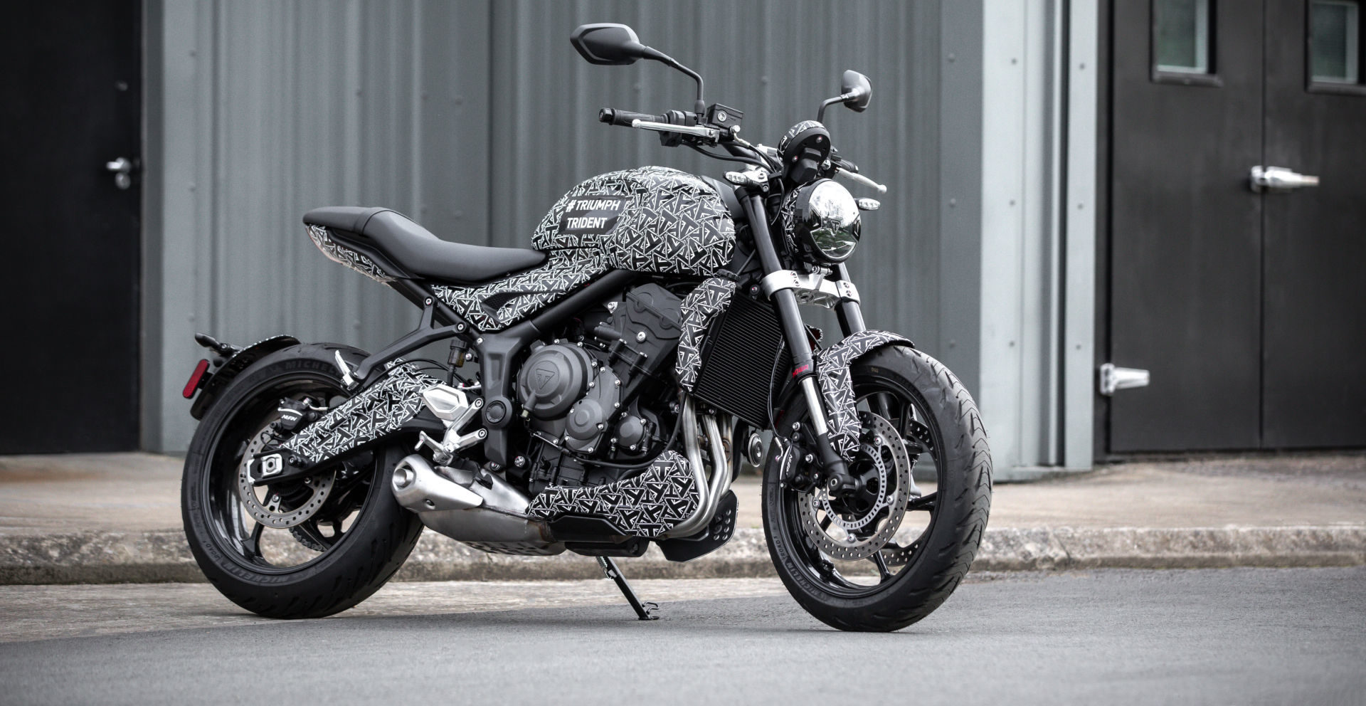 A prototype of the new Triumph Trident middleweight roadster. Photo courtesy Triumph.