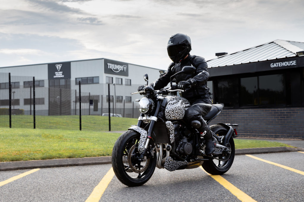 The new Triumph Trident middleweight roadster is undergoing its final road testing in England. Photo courtesy Triumph.