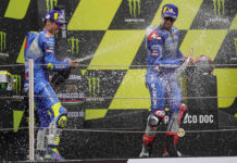 Team Suzuki ECSTAR riders Joan Mir (left) and Alex Rins (right) on the MotoGP podium at Catalunya. Photo courtesy Team Suzuki Press Office.