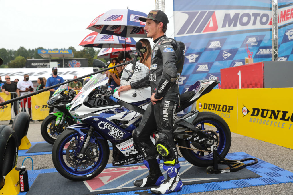Jason Aguilar on the MotoAmerica Supersport podium. Photo by Brian J. Nelson, courtesy Jason Aguilar Racing.