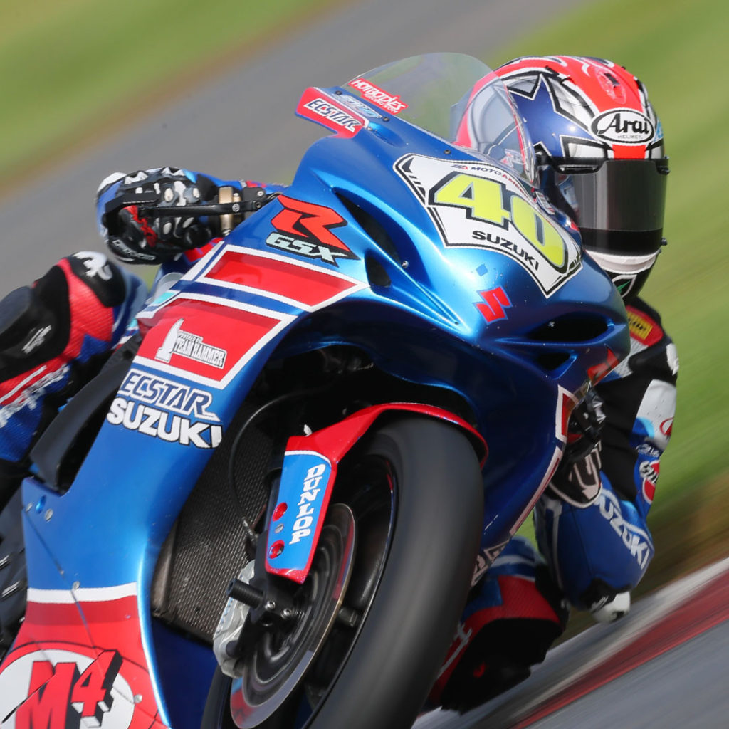 Sean Dylan Kelly (40) earned another hard-fought victory in race 2 on his GSX-R600. Photo by Brian J. Nelson, courtesy Suzuki Motor of America, Inc.