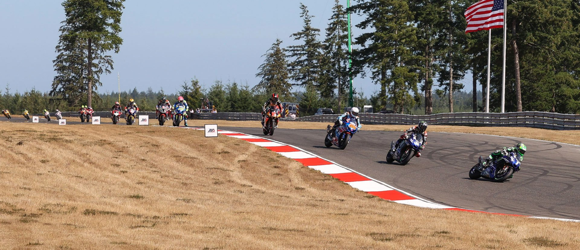 Action from a MotoAmerica Superbike race at Ridge Motorsports Park. Photo by Brian J. Nelson.