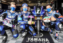 YART Yamaha riders Marvin Fritz (left), Karel Hanika (center), and Niccolo Canepa (right) at Estoril. Photo courtesy Eurosport Events.