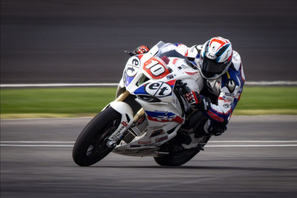 Travis Wyman (10) claimed his first win of the 2020 MotoAmerica season Saturday at Indianapolis Motor Speedway. Photo by BrockImaging, courtesy Travis Wyman Racing.
