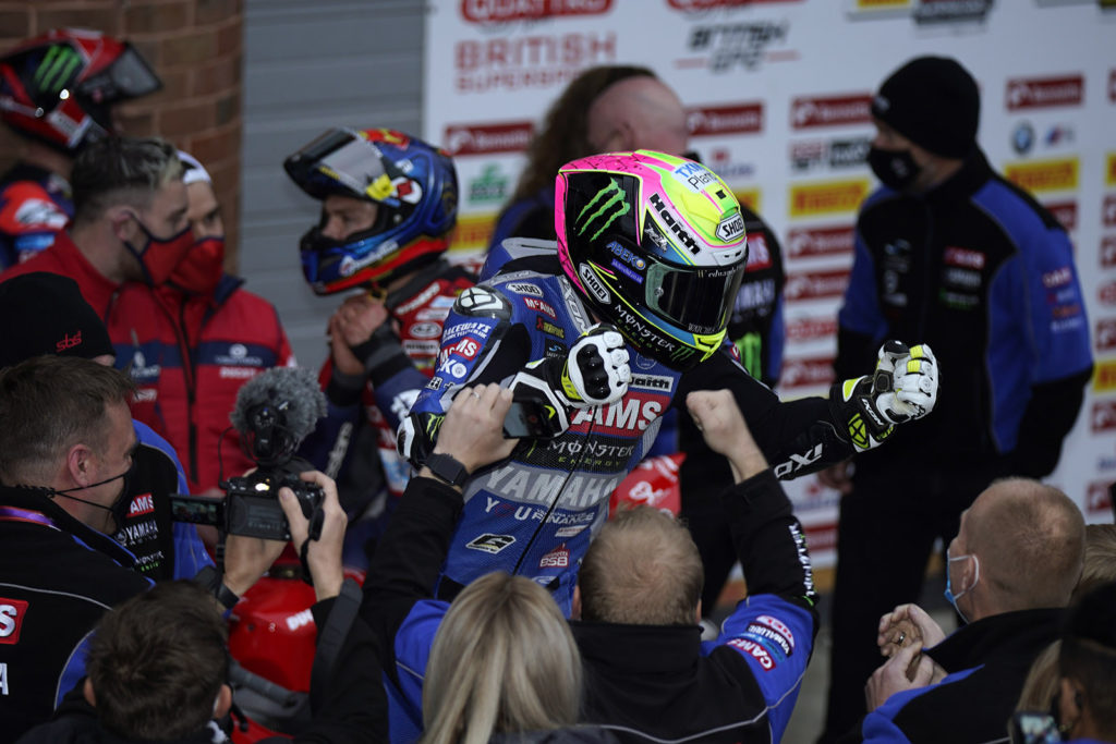 Jason O'Halloran celebrates his victory in Race One at Brands Hatch. Photo courtesy MSVR.