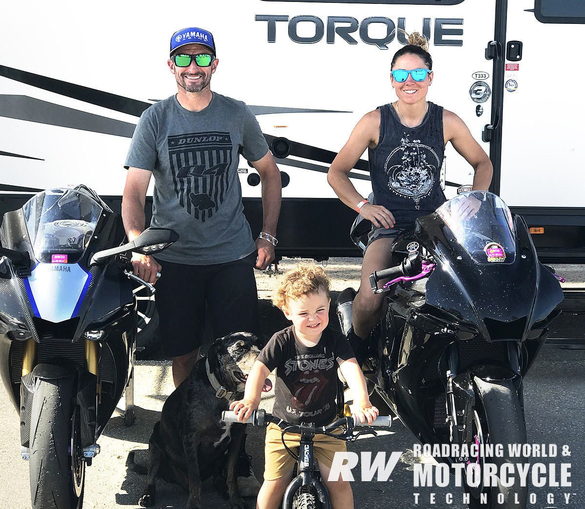 Josh Hayes, Melissa Paris and their two-year-old son Hawk are having family fun adventures and racetrack outings in their 39-foot Torque TQ T333 by Heartland toy-hauler/travel trailer.