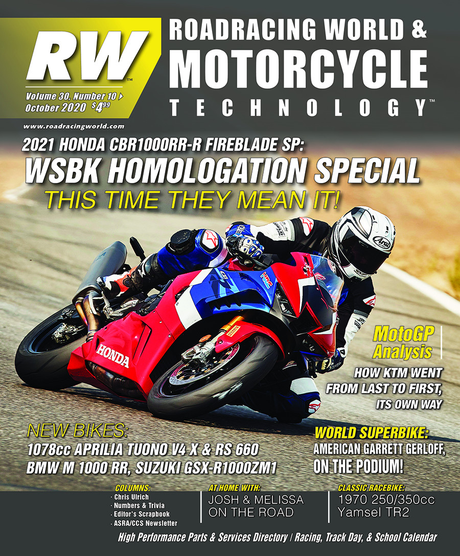 The cover of the October 2020 issue of Roadracing World & Motorcycle Technology magazine.