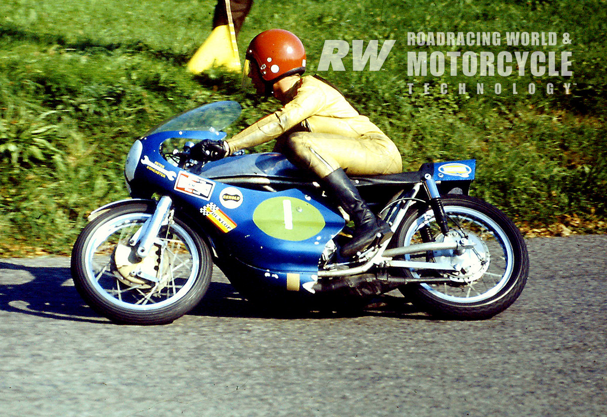 John Cooper on his 250 Yamsel at Oliver's Mount in 1972. Note the Fontana front brake and Yamaha rear brake. Photo Courtesy Keith Nunns.