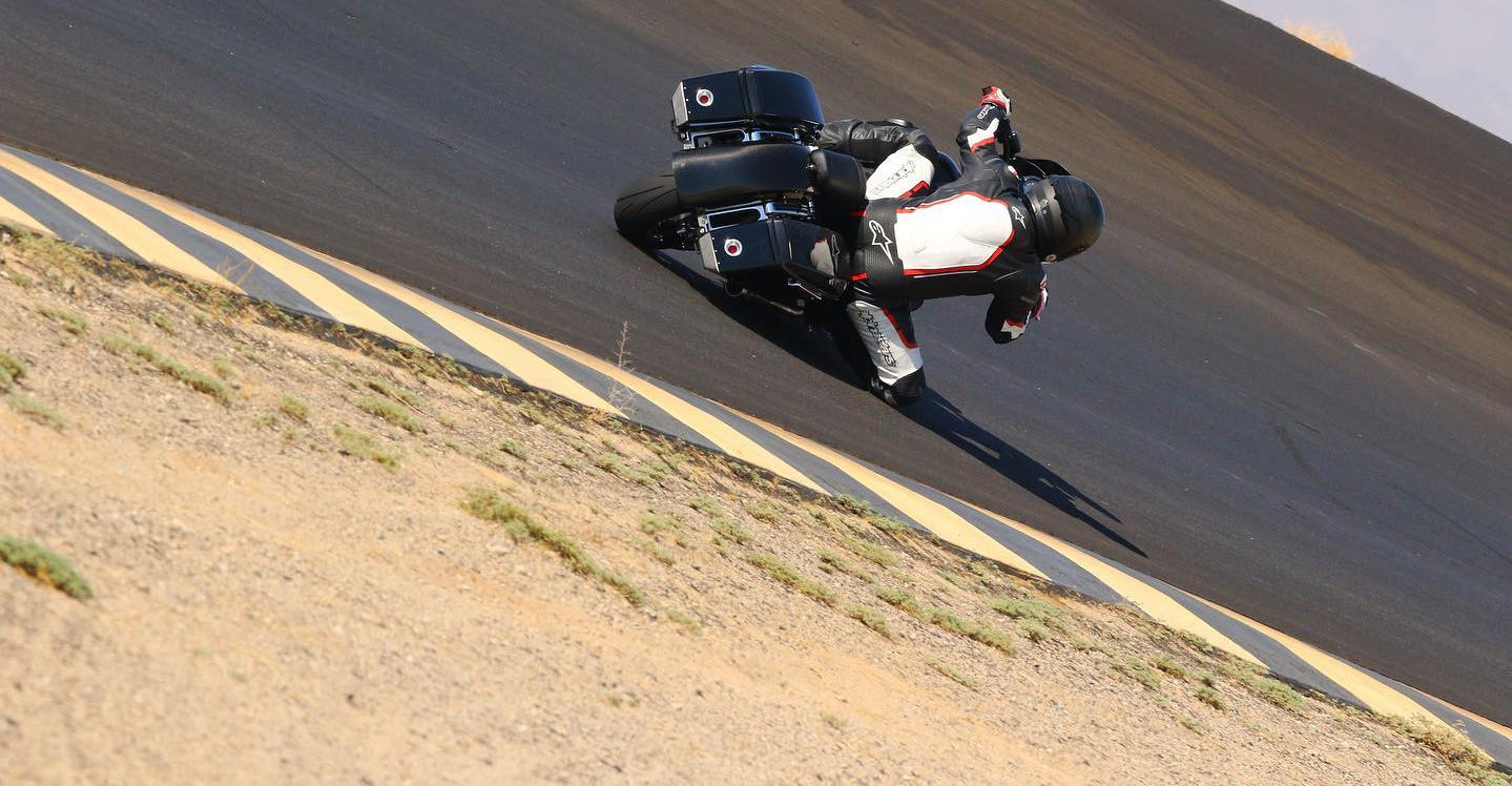 Tony Sollima testing at Chuckwalla Valley Raceway on The Speed Merchant Harley-Davidson Electra Glide Standard. Photo by CaliPhotography.com, courtesy MotoAmerica.