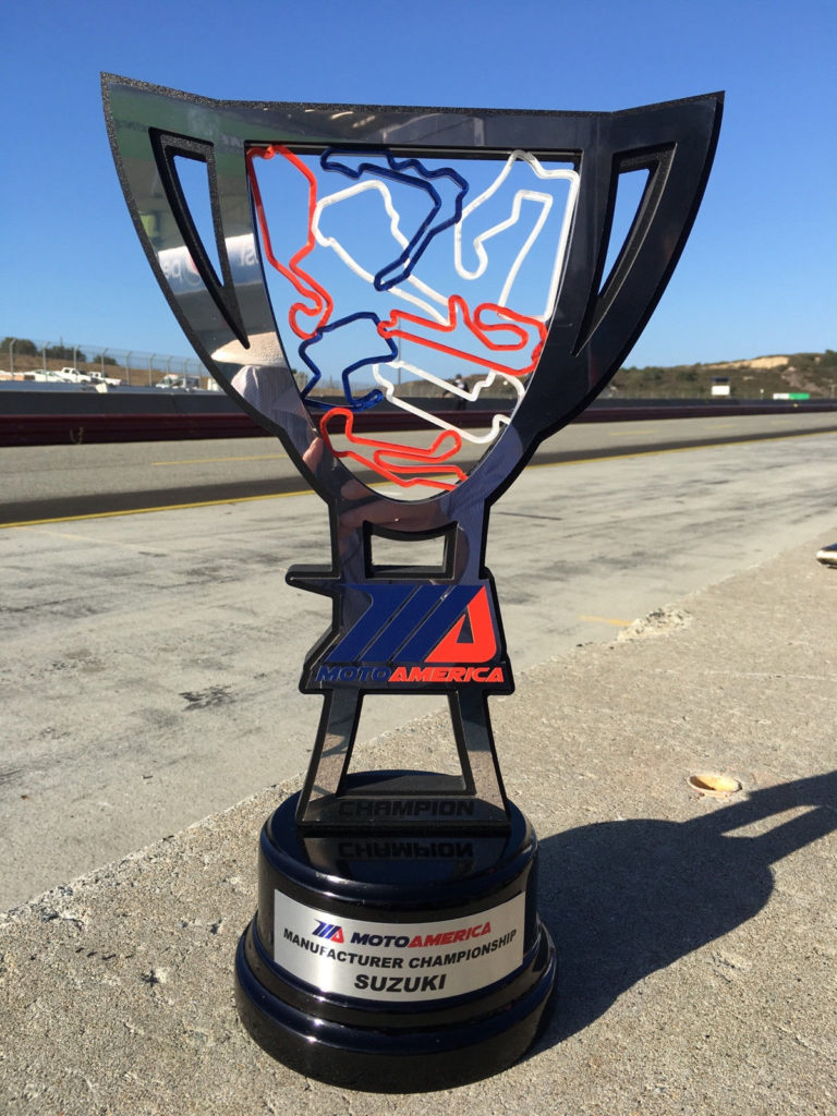 The 2020 MotoAmerica Manufacturers Championship trophy. Photo by Brian J. Nelson, courtesy Suzuki Motor of America, Inc.