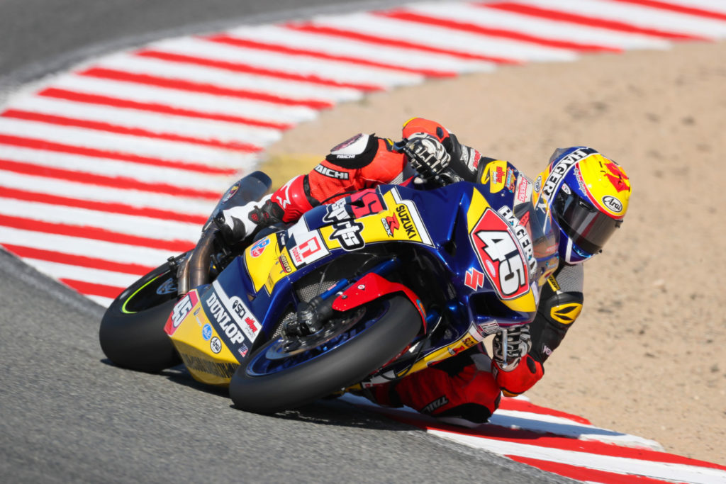 Cam Petersen (45) won big at Laguna Seca with a race win and the MotoAmerica Superbike Cup award. Photo by Brian J. Nelson, courtesy Suzuki Motor of America, Inc.