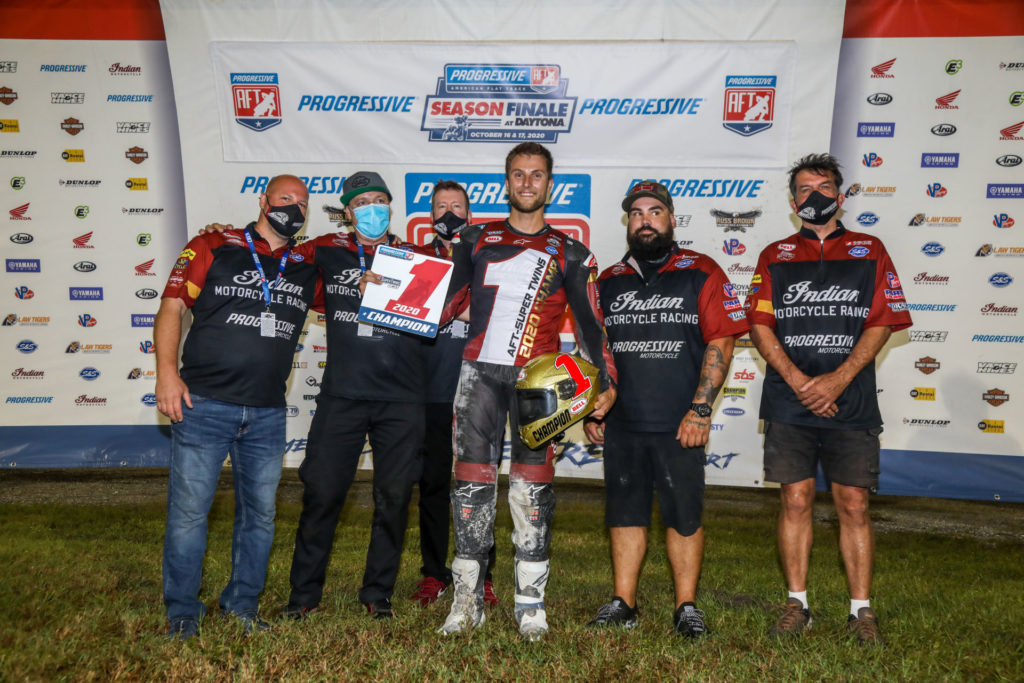 2020 AFT SuperTwins Champion Briar Bauman (center) and his team. Photo by Scott Hunter, courtesy AFT.