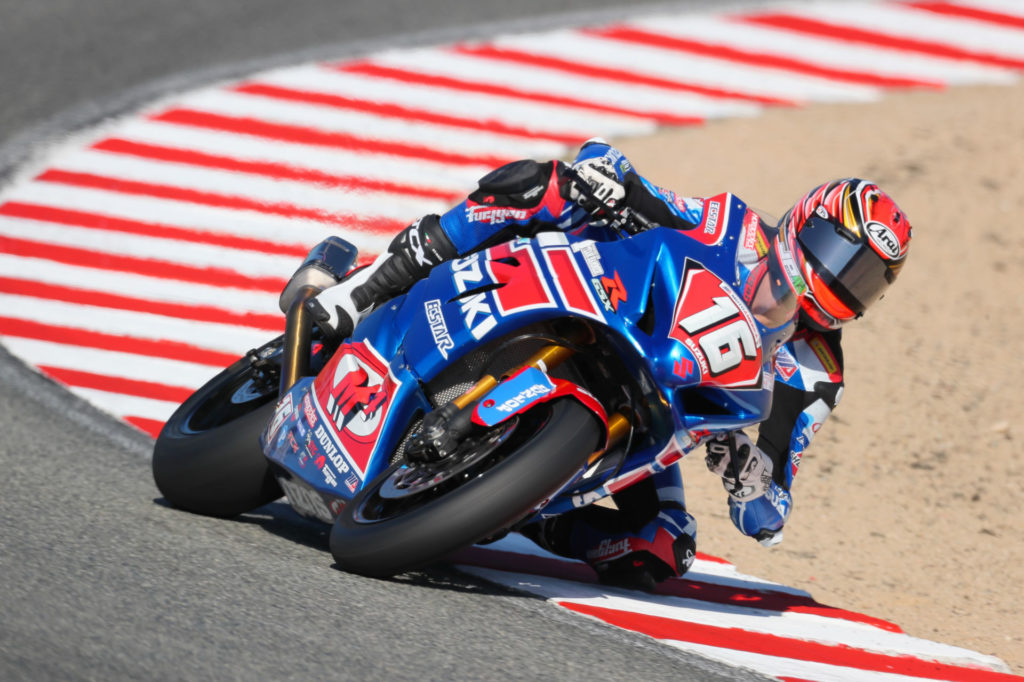 Alex Dumas (16) scored a close fourth on his GSX-R1000 in his final race of the season. Photo by Brian J. Nelson, courtesy Suzuki Motor of America, Inc.