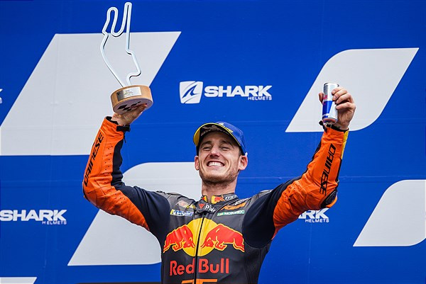 Pol Espargaro on the podium at Le Mans. Photo courtesy KTM Factory Racing.