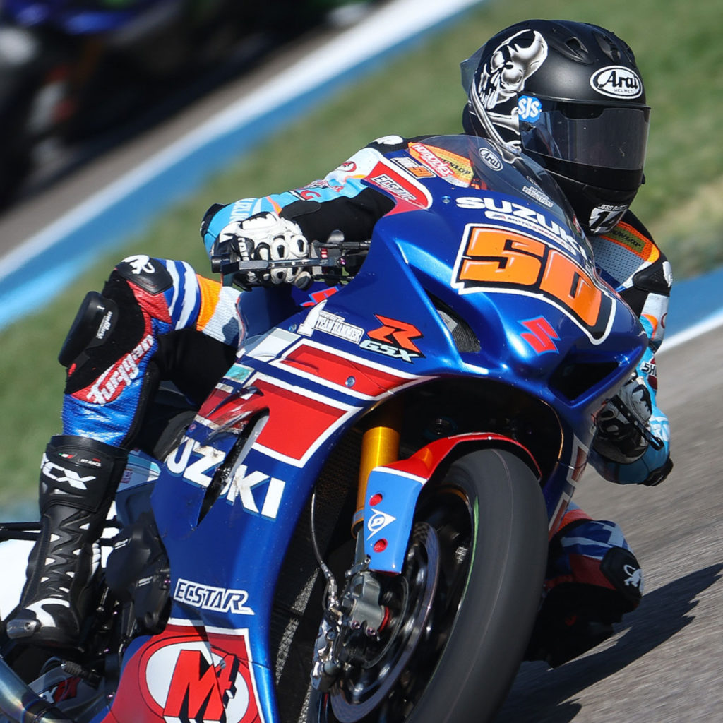 Bobby Fong (50) earned two strong Superbike victories on his GSX-R1000. Photo by Brian J. Nelson, courtesy SMAI.
