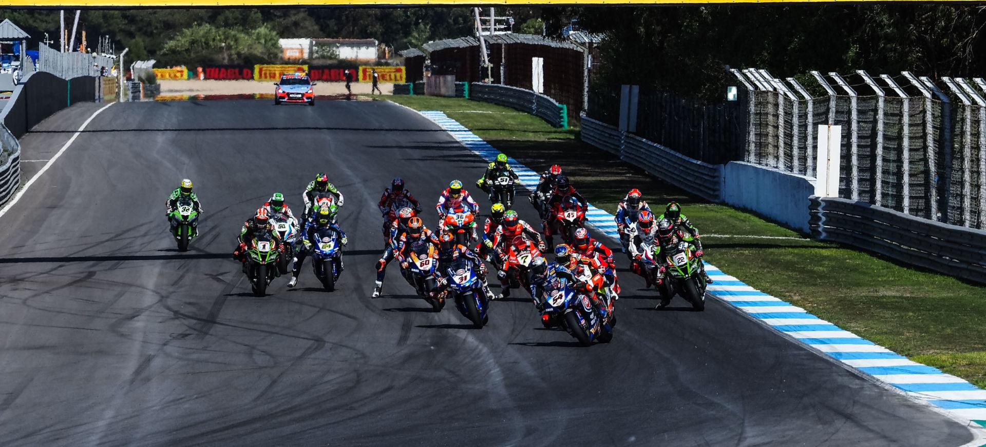 The start of World Superbike Race One. Photo courtesy Dorna.