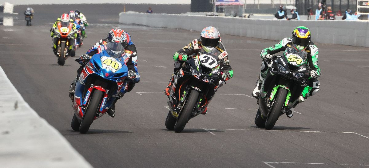 Sean Dylan Kelly (40), Stefano Mesa (37), and Richie Escalante (54) battle for the lead in MotoAmerica Supersport Race Two at Indianapolis Motor Speedway. Photo by Brian J. Nelson, courtesy MotoAmerica.