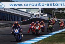 Garrett Gerloff (31) leading a group of riders into Turn One at Estoril. Photo courtesy Dorna.