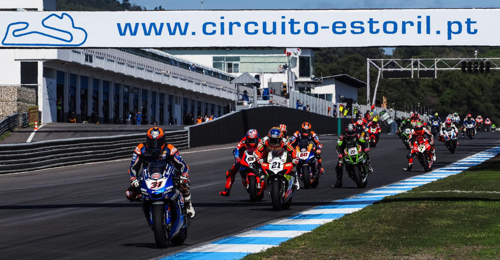 Garrett Gerloff (31) leading a group of riders into Turn One at Estoril. Photo courtesy Dorna.