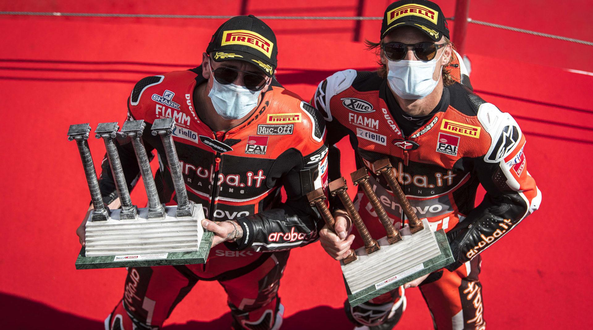 Aruba.it Racing Ducati riders Scott Redding (left) and Chaz Davies (right). Photo courtesy Aruba.it Racing Ducati.