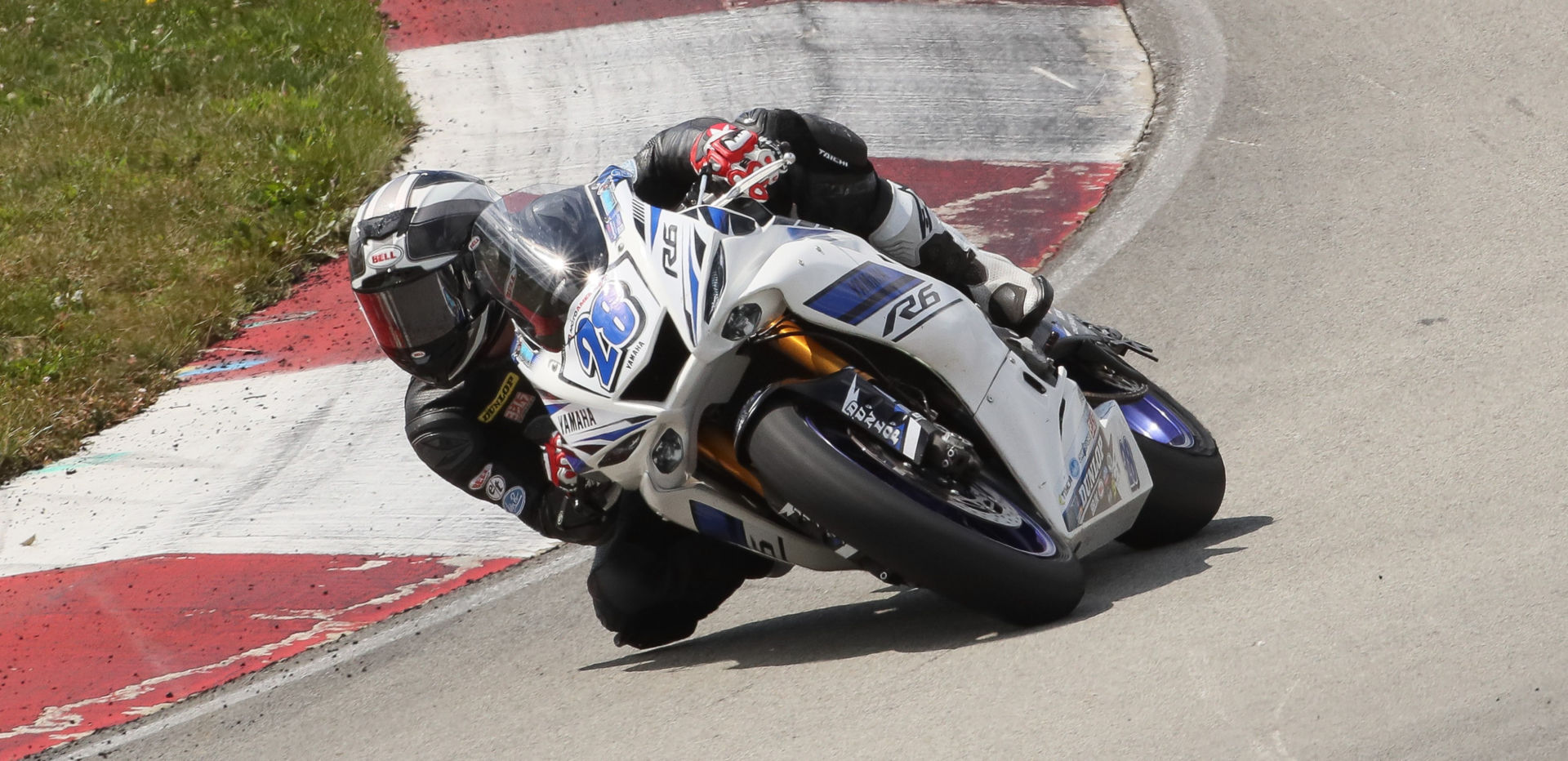 Cory Ventura (28) racing in the MotoAmerica Supersport class at Pittsburgh International Race Complex in 2019. Photo by Brian J. Nelson.