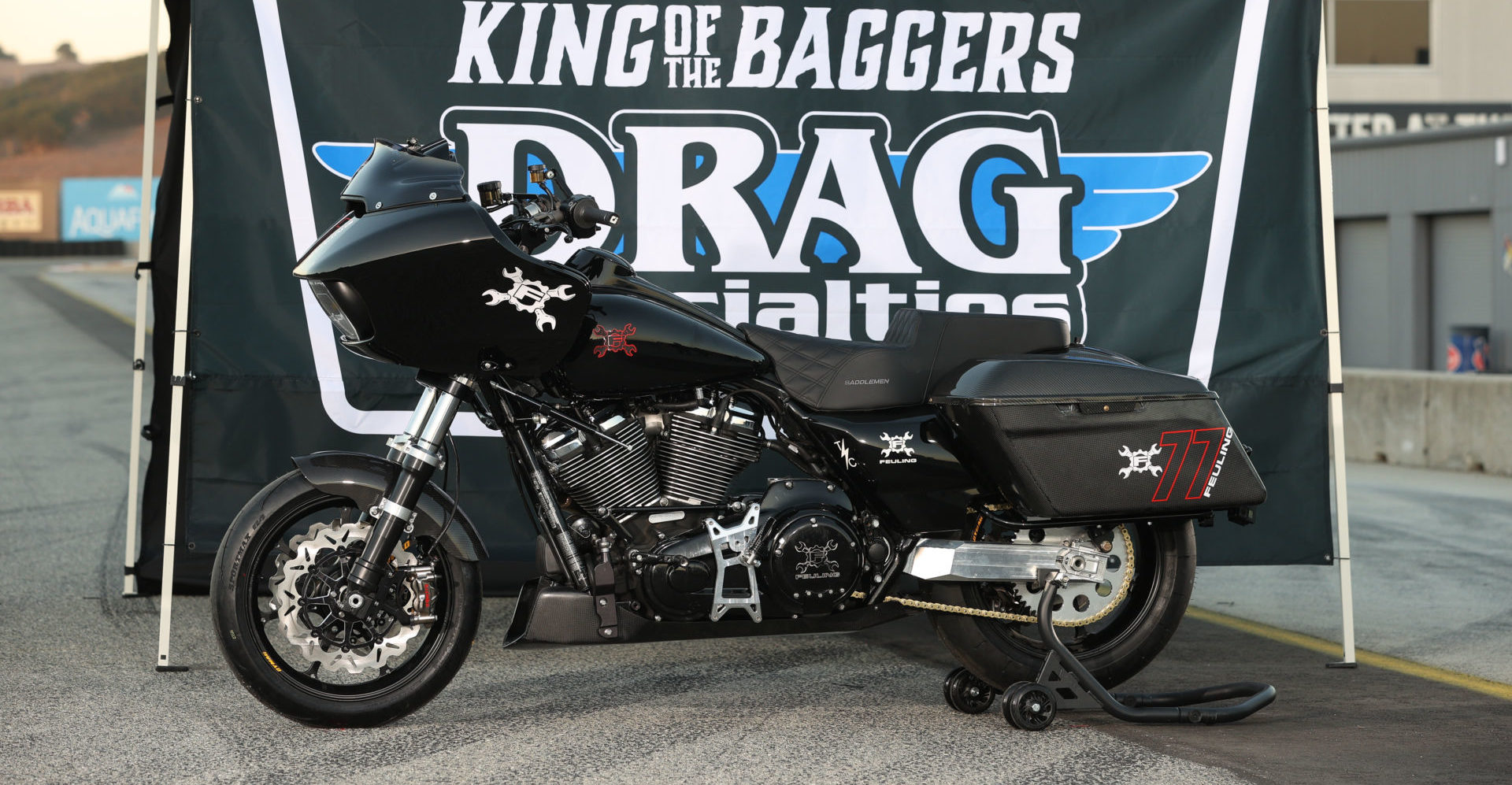 Ben Bostrom's Feuling Parts Harley-Davidson Road Glide King of the Baggers racebike. Photo by Brian J. Nelson.