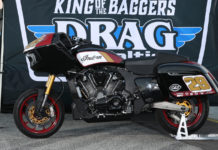 Tyler O'Hara's Indian Challenger King of the Baggers racebike. Photo by Brian J. Nelson.