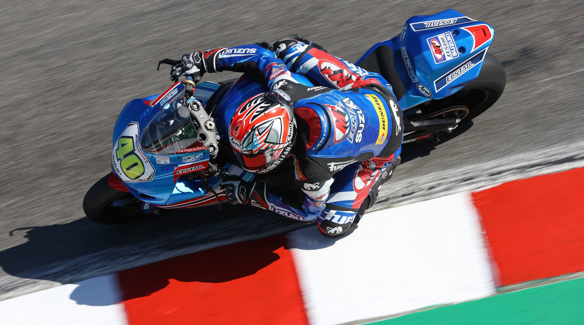Sean Dylan Kelley (40) took a dominating double win on his GSX-R600 at Laguna Seca. Photo by Brian J. Nelson, courtesy Suzuki Motor of America, Inc.
