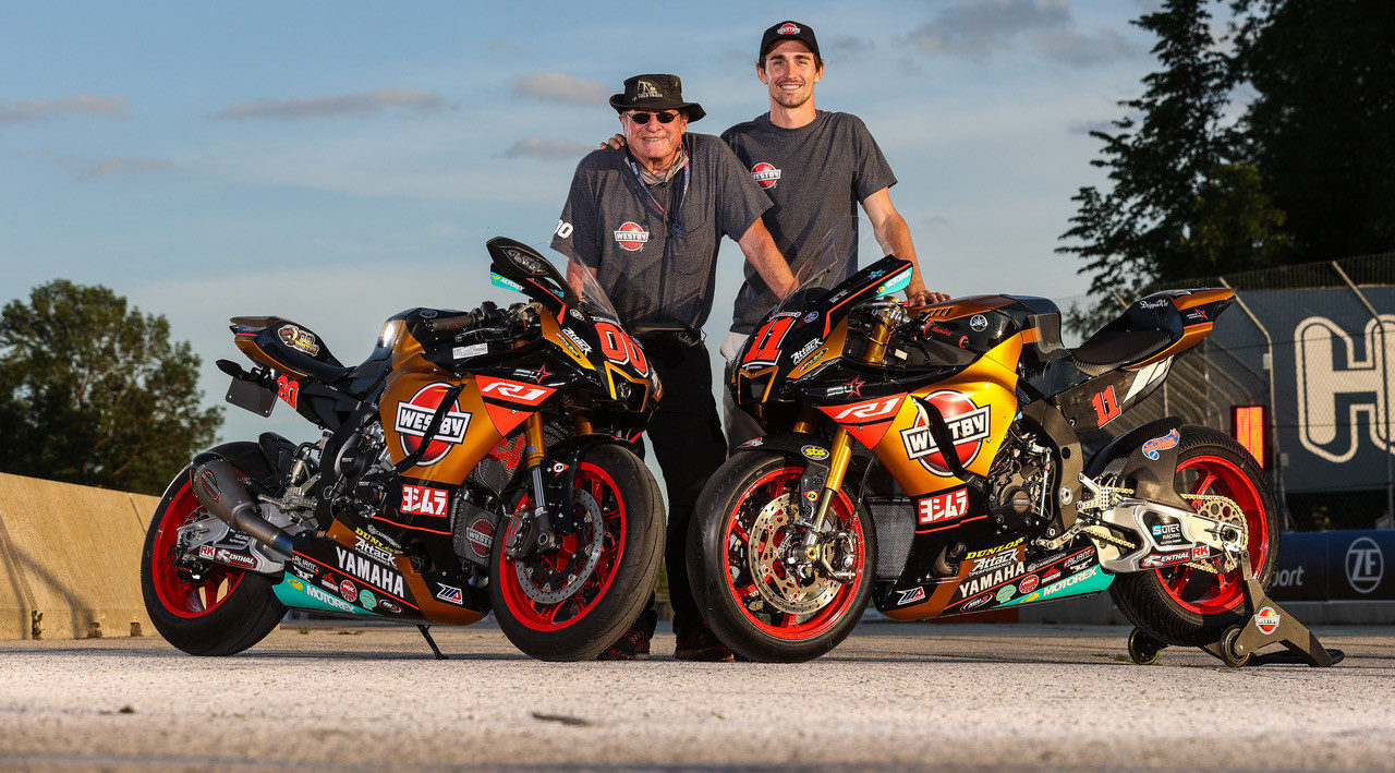 Mathew Scholtz (right) and his Westby Racing Yamaha YZF-R1 Superbike and team owner Tryg Westby (left) and his streetbike replica of Scholtz's Superbike. Photo by Brian J. Nelson, courtesy Westby Racing.