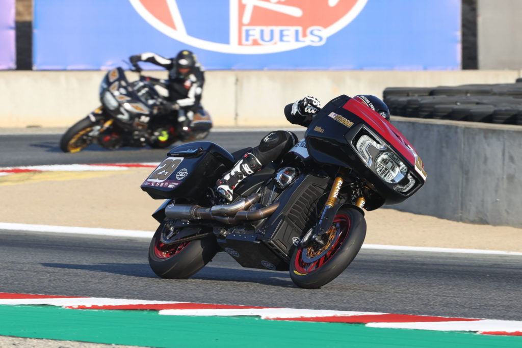 Tyler O'Hara (29) and Frankie Garcia (14) at speed on their Indiana Challengers. Photo by Brian J. Nelson, courtesy Indian Motorcycle.