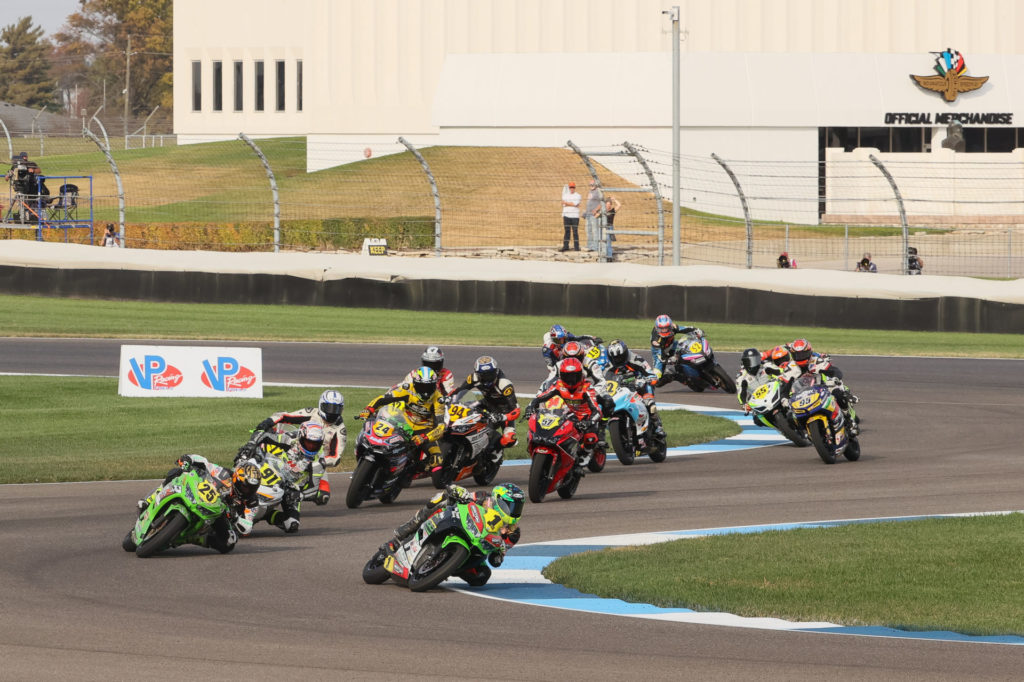 Rocco Landers (1) leads the start of Liqui Moly Junior Cup Race One. Photo by Brian J. Nelson.
